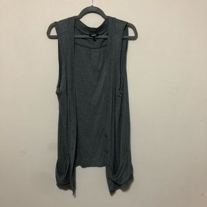 Express Gray Sleeveless Button Front Tunic Vest